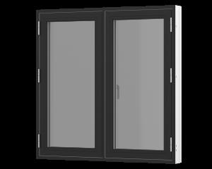 Rationel sidehængt 2-fags vindue . Kan bestilles i træ eller i en vedligeholdelses-fri  træ/alu udgave.  Modellen fås både i en retkantet moderne og klassisk udgave med profilerede karme.    Modellen leveres i en Basic version med 2 lag glas og i en P