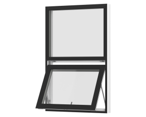 Rationel topstyret vindue med fast felt foroven. Kan bestilles i træ eller i en vedligeholdelses-fri  træ/alu udgave.  Modellen fås både i en retkantet moderne og klassisk udgave med profilerede karme.    Modellen leveres i en Basic version med 2 lag