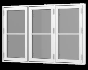 Rationel 3 fags sidehængt vindue med 1 vandret energisprosse. Fås både i træ og træ/alu.  Leveres i en klassisk model med 25 mm energisprosse og en moderne model med en 31 mm energisprosse. Vælg mellem varianterne Basic med 2 lag glas og Premium med 3 la