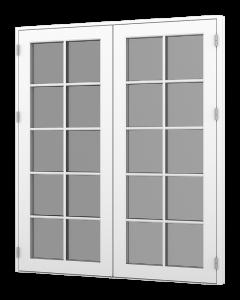 Rationel dobbelt fløjet terrassedør. Fås i den træudgave eller som træ/alu. Vælg mellem en Basic variant med 2 lag glas eller vores Premium variant med 3- lag glas.